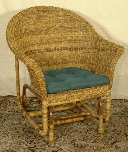 Walnut Finish Wicker Glider