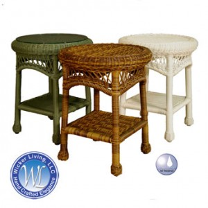 Round Resin Wicker End Table