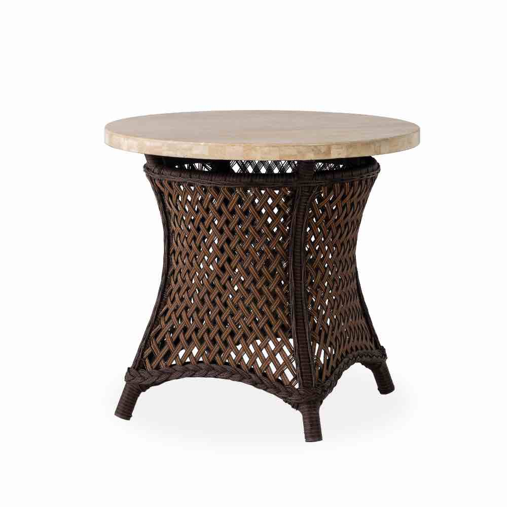 Lloyd Flanders Grand Traverse Round Mosaic Stone Top Wicker End Table