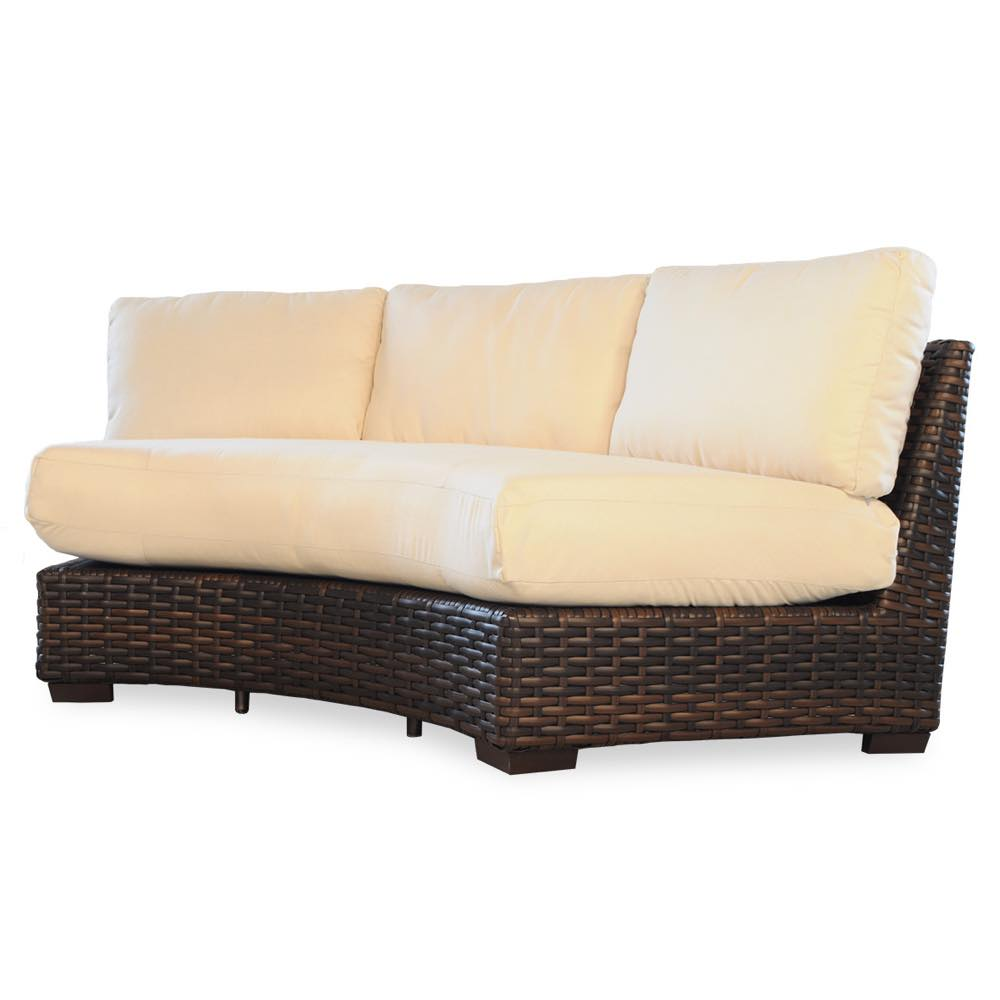 Lloyd Flanders Contempo Curved Sectional Resin Wicker Sofa