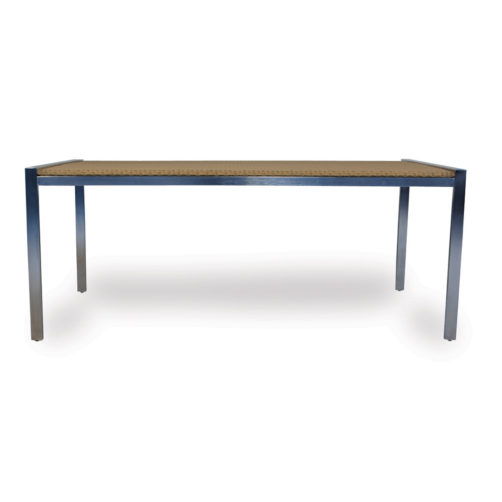 Lloyd Flanders Wicker Dining Table With Glass Top And Steel Frame