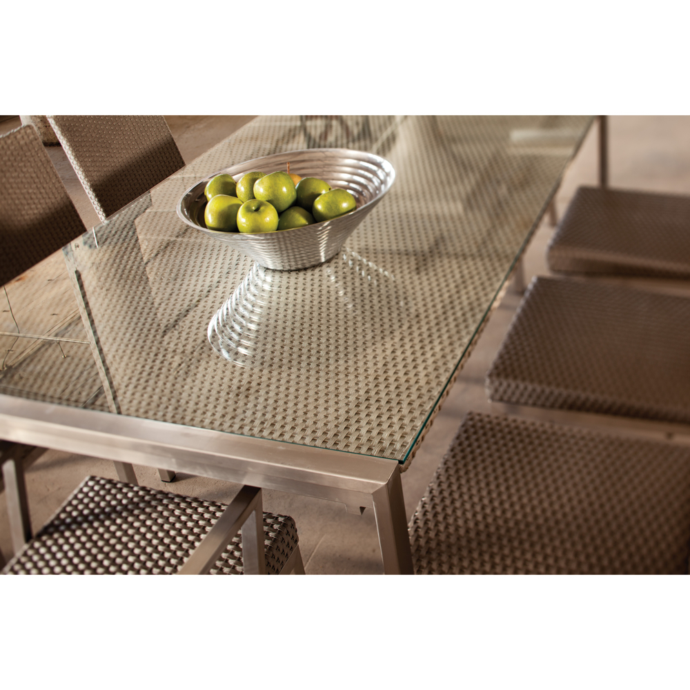 Lloyd Flanders Elements Stainless Steel Wicker and Glass Dining Table