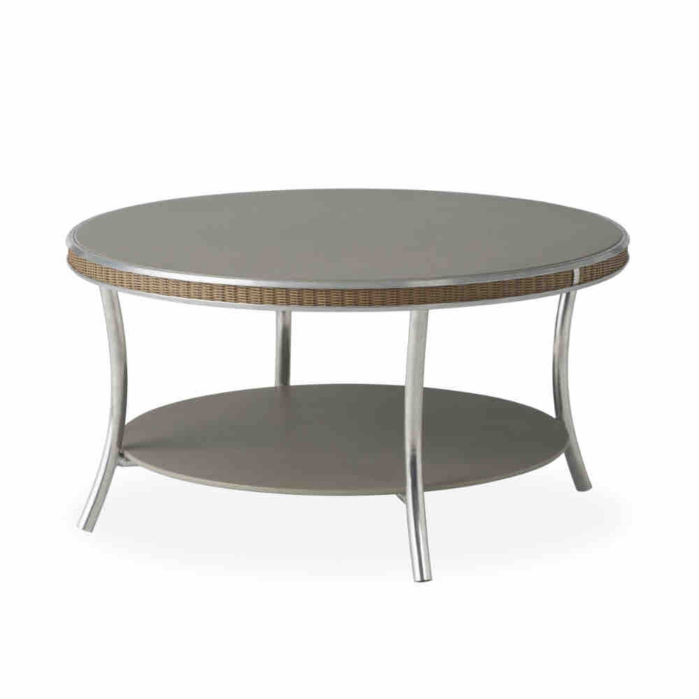 33 in. Round Cocktail Table with Taupe Glass