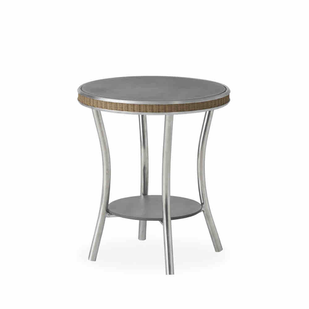 Essence 20 in. Round End Table with Charcoal Glass