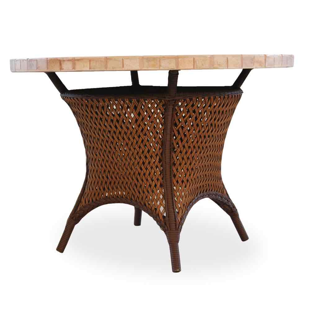 """Lloyd Flanders Grand Traverse Outdoor 42"""" Round Umbrella Wicker Dining Table With Mosaic Stone Top"""