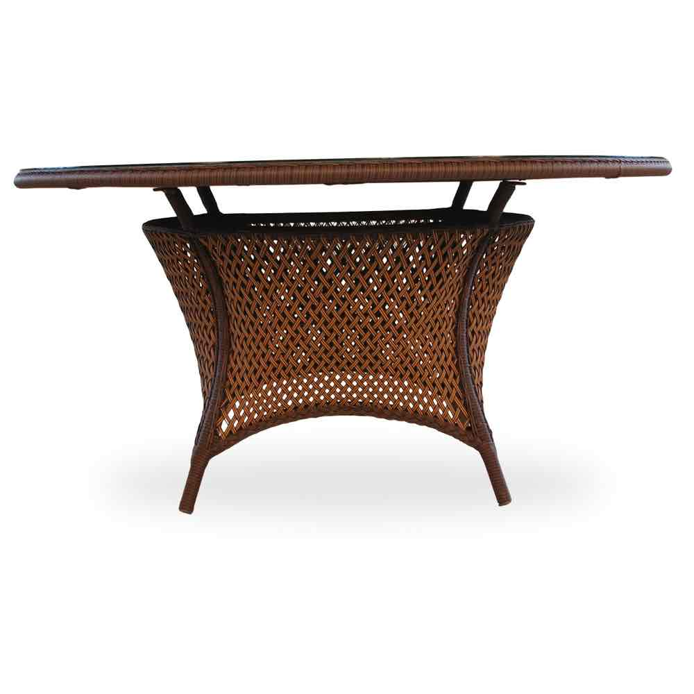 "Lloyd Flanders Grand Traverse 60"" Round Wicker Umbrella Dining Table"