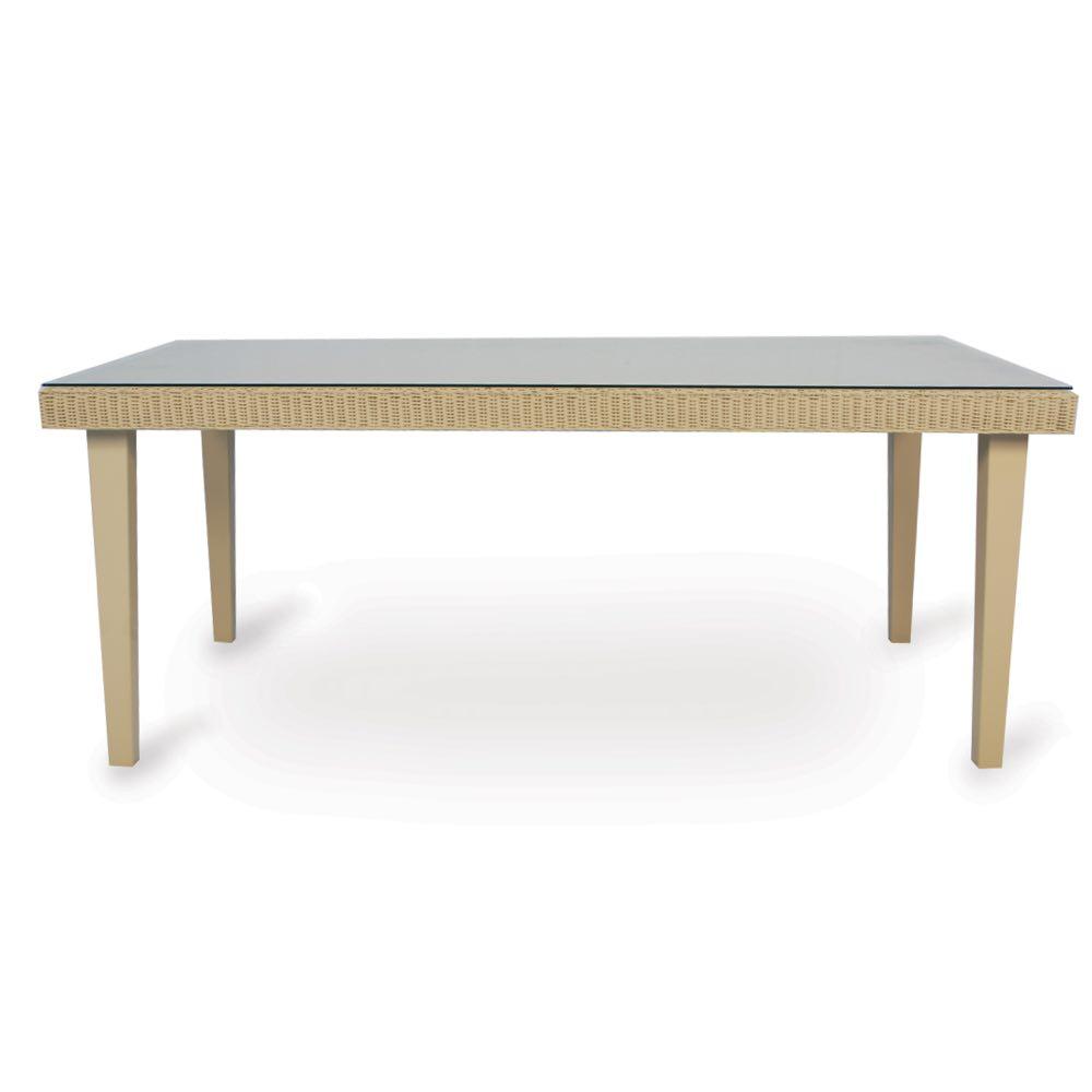 Lloyd Flanders Hamptons 72 in. Wicker Dining Table With Glass Top