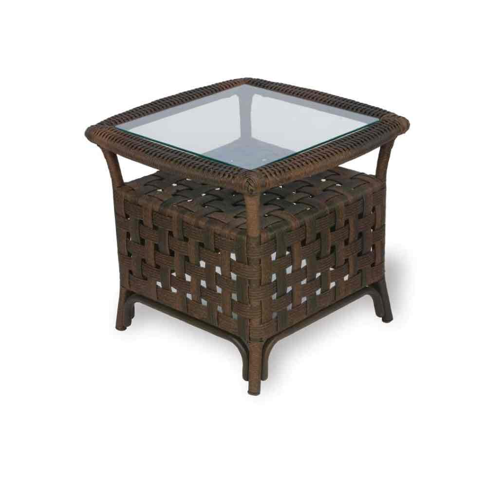 """Lloyd Flanders Haven 24"""" Square Outdoor Wicker End Table"""