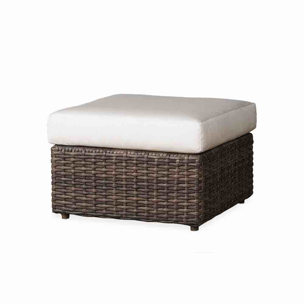 Lloyd Flanders Largo Square Outdoor Wicker Ottoman With Cushion