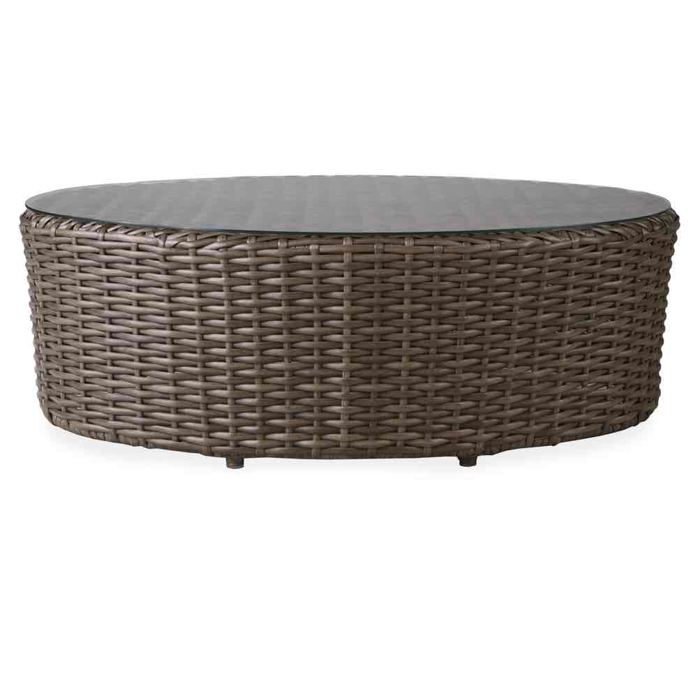 Lloyd Flanders Largo Oval Wicker Ottoman