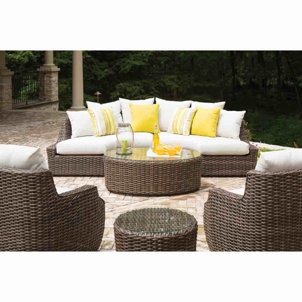 Lloyd Flanders Outdoor Left Arm Curved Sectional Sofa