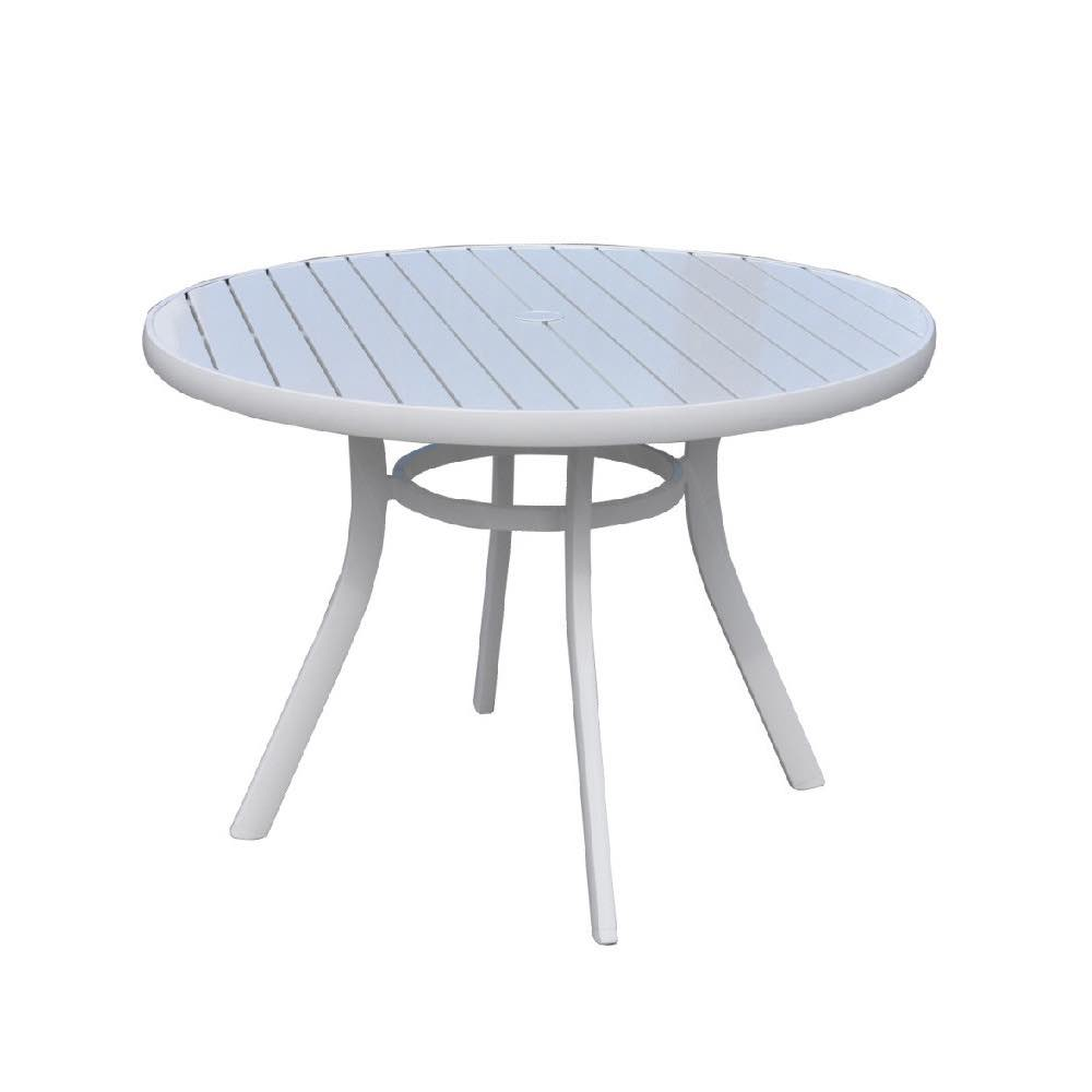 Lloyd Flanders Lux Aluminum Umbrella Dining Table With White Finish