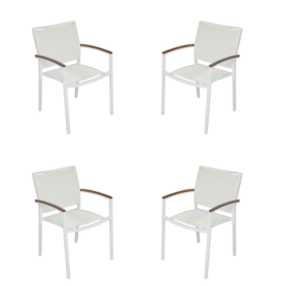Lloyd Flanders Lux White Sling Dining Chair Set