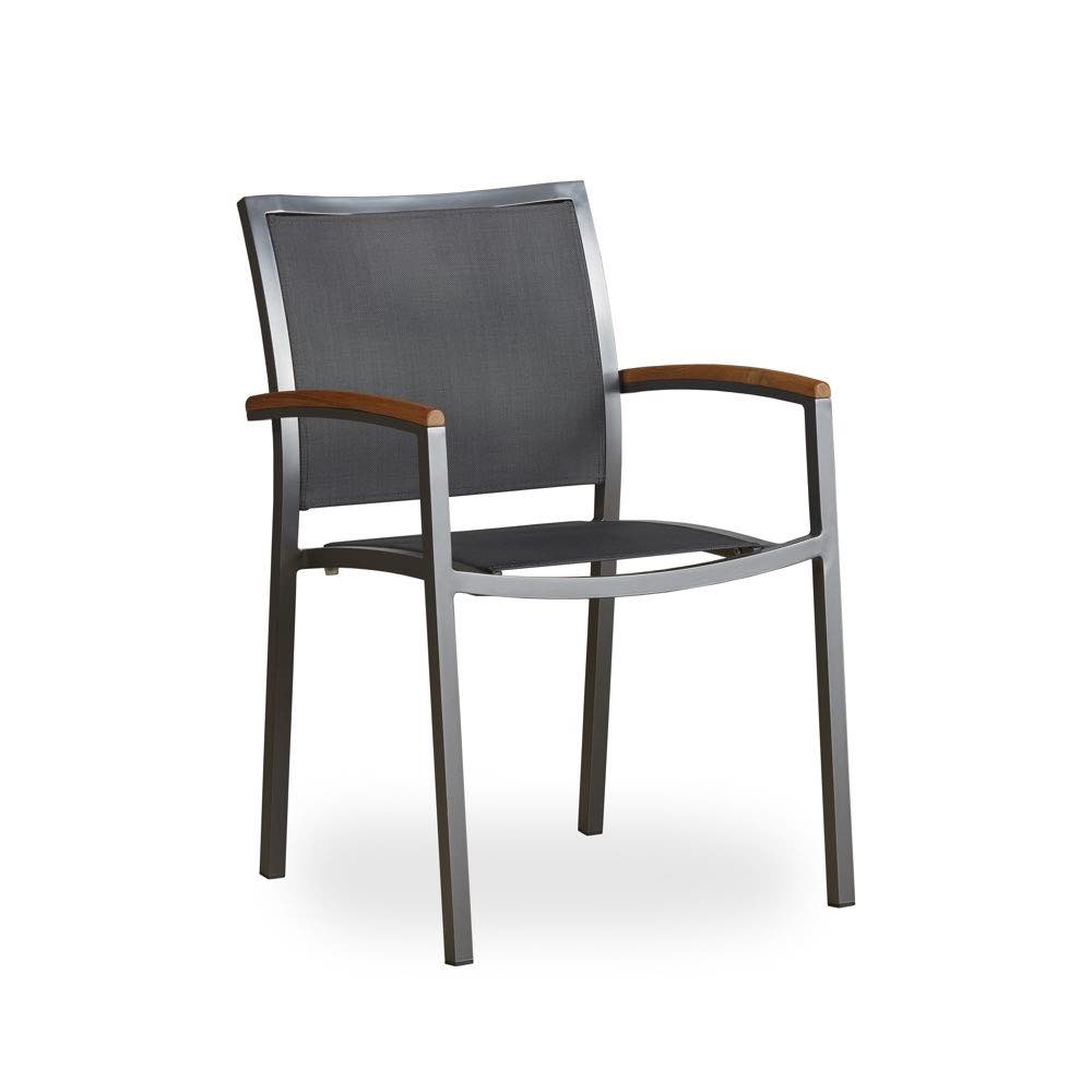 lux gray sling dining arm chair anthracite finish set of 4