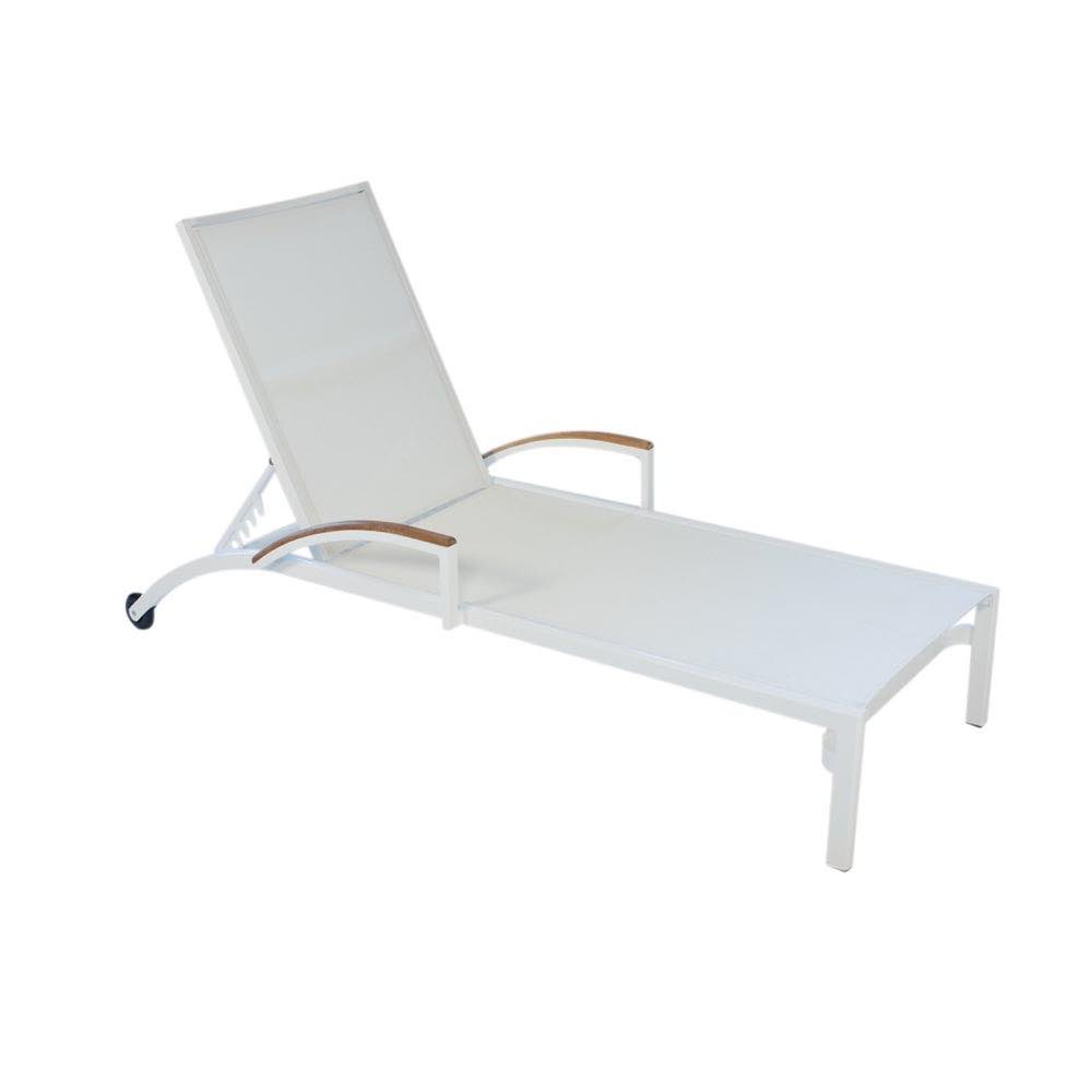 Lloyd Flanders Lux Gray Sling Chaise Longe With Teak Arms