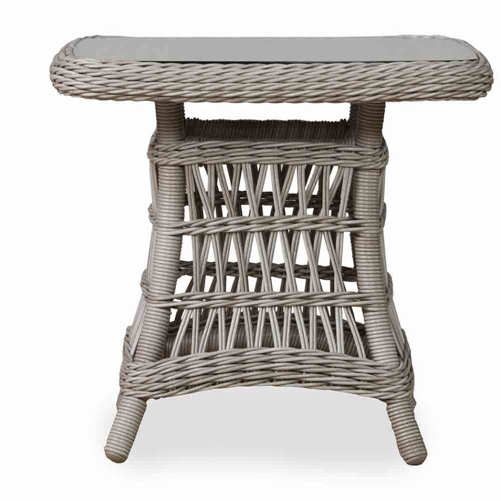 Lloyd Flanders Mackinac Outdoor Wicker End Table With Woven Top