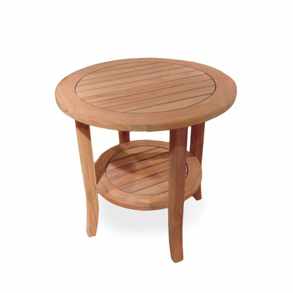 Lloyd Flanders Teak 24 Inch Round End Table With Shelf