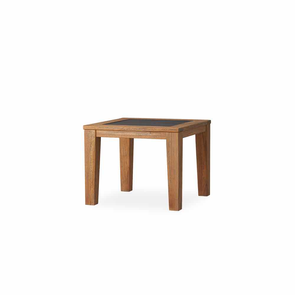 Lloyd Flanders Teak 28 Inch Square End Table With Faux Concrete Insert
