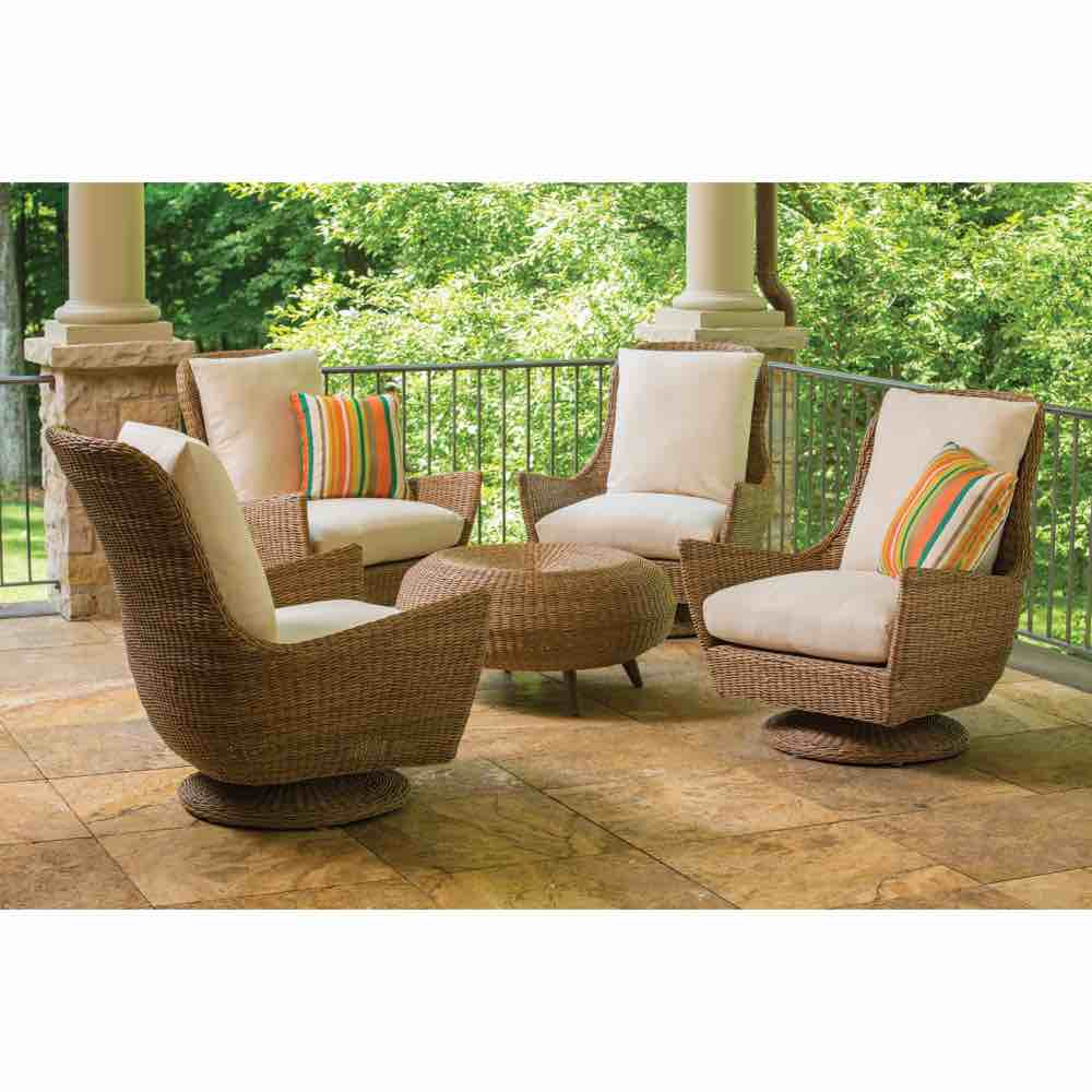 Lloyd Flanders Tobago Outdoor High Back Swivel Rocker Lounge Chair & Ottoman Seating Group