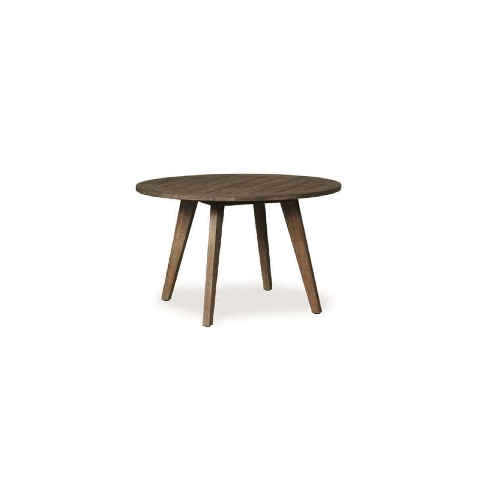 "Lloyd Flanders Wildwood 48"" Round Umbrella Dining Table in Heather Gray Teak Finish"