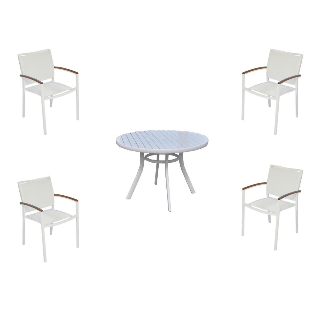 Lloyd Flanders Round Aluminum Dining Table