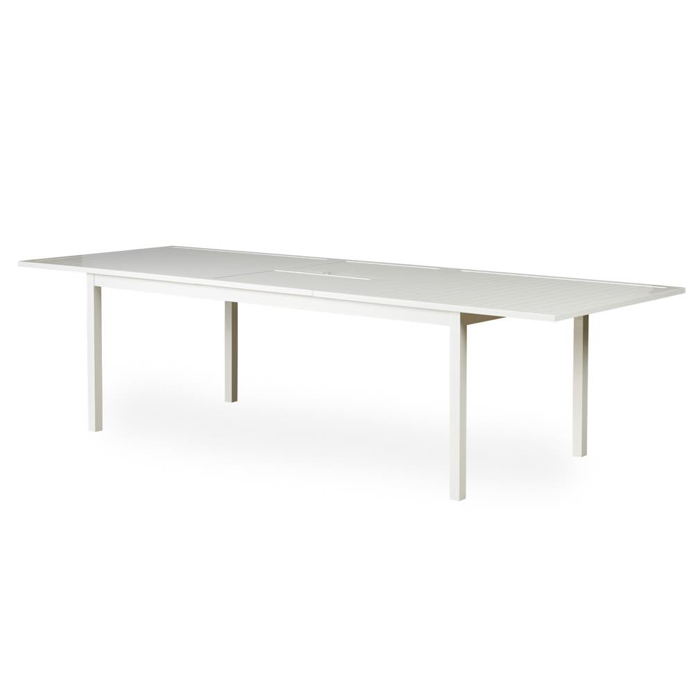 """Lloyd Flanders Lux Aluminum 84""""-114"""" Butterfly Dining Table With White Finish"""