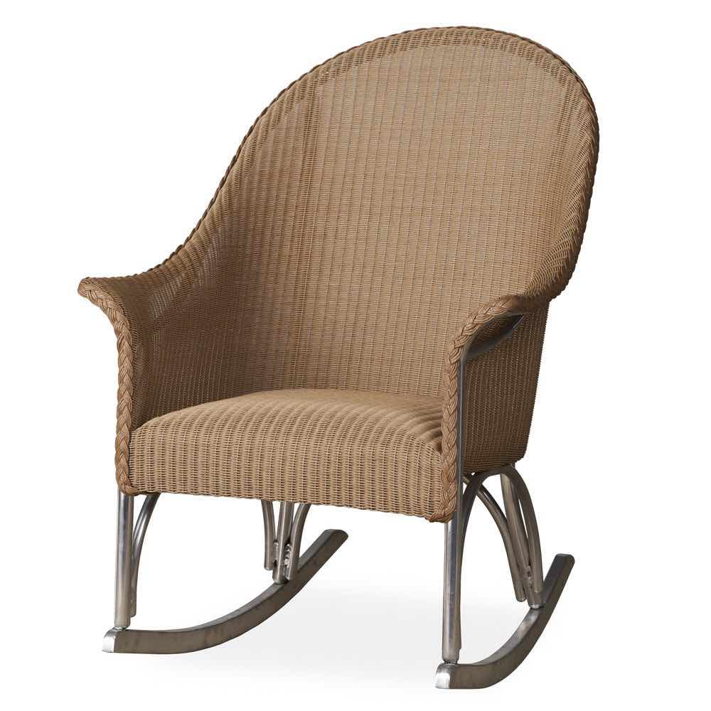 Lloyd Loom Outdoor Wicker Padded Rocker
