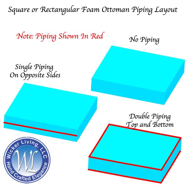 Square or Rectangular Ottoman Cushion Piping Layout