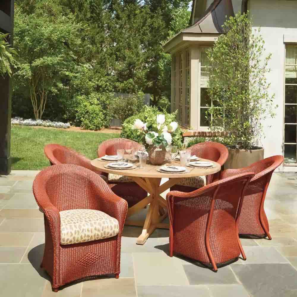 Lloyd Flanders Reflections Wicker Dining Set With 48 inch Round Teak Table