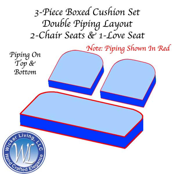 Set of 3 Foam Boxed Cushions With Double Piping