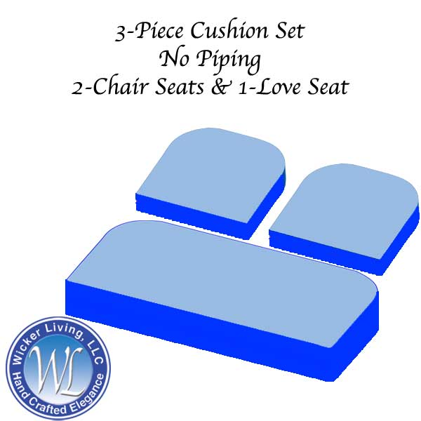 Set of 3 Foam Cushions No Piping