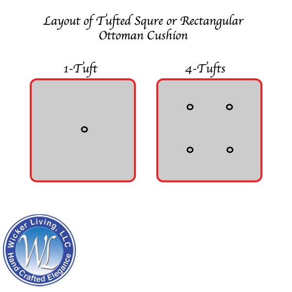 Square or Rectangular Ottoman Cushion With 1 or 4 Tufts