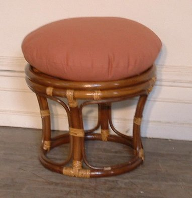 Round Rattan Ottoman Cushion Tufted Cushion