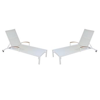 Lloyd Flanders Lux Sling Chaise Longe With Teak Arms Set of 2
