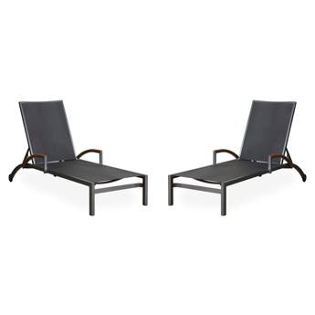 Lloyd Flanders Lux Sling Chaise Longe With Teak Arms