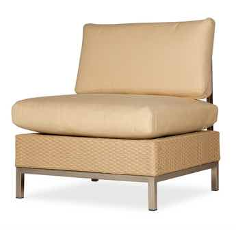 Lloyd Flanders Elements All Weather Wicker Armless Lounge Chair With Stainless Steel Frame