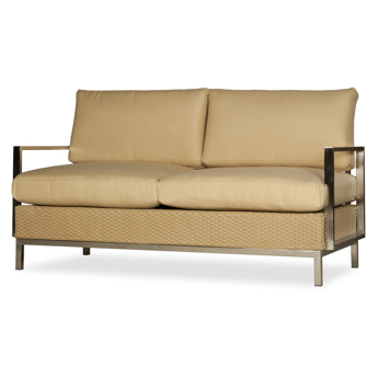 Lloyd Flanders Elements Settee With Stainless Steel Arms and Frame
