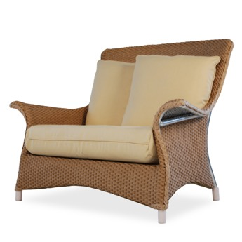 Lloyd Flanders Mandalay Wicker Dining Arm Chair Close-Up