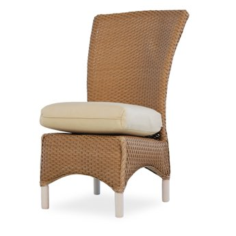 Lloyd Flanders Mandalay Armless Wicker Dining Chair Close-Up