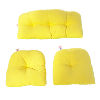 Tufted 3 Piece Wicker Cushion Set